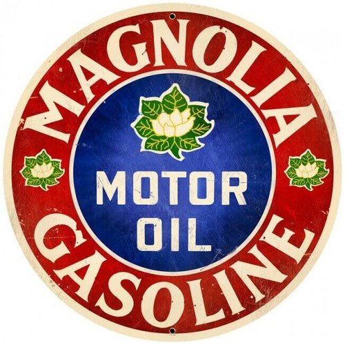 Retro Magnolia Motor Oil  Round Metal Sign 28 x 28 inches