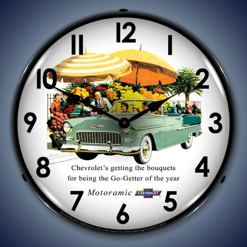 Retro  1955 Bel Air Convertible Lighted Wall Clock 14 x 14 Inches