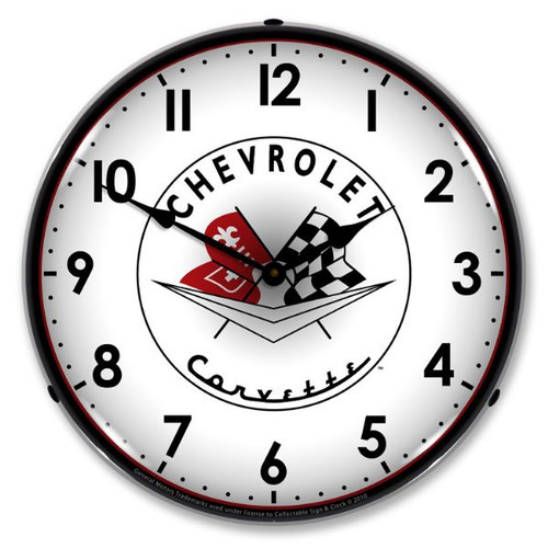 Vintage-Retro  1956-57 Corvette logo Lighted Wall Clock