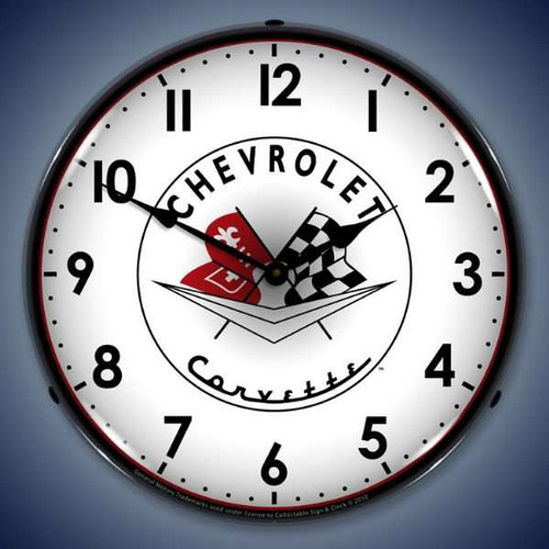 Retro  1956-57 Corvette logo Lighted Wall Clock 14 x 14 Inches