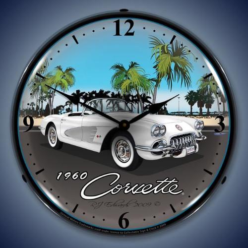 Retro  1960 Corvette Lighted Wall Clock 14 x 14 Inches