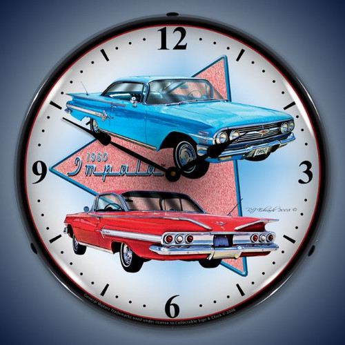 Retro  1960 Impala Lighted Wall Clock 14 x 14 Inches