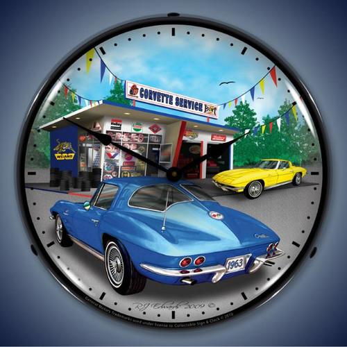 Retro  1963 Corvette Lighted Wall Clock 14 x 14 Inches