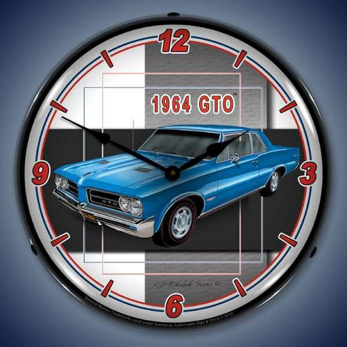 Retro  1964 GTO Lighted Wall Clock 14 x 14 Inches