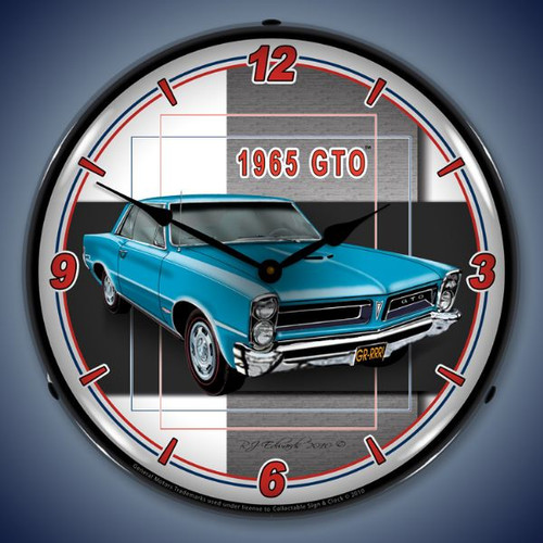 Retro  1965  GTO Lighted Wall Clock 14 x 14 Inches