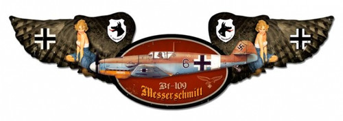 Vintage Messerschmitt Winged Oval Metal Sign 10 x 35 Inches