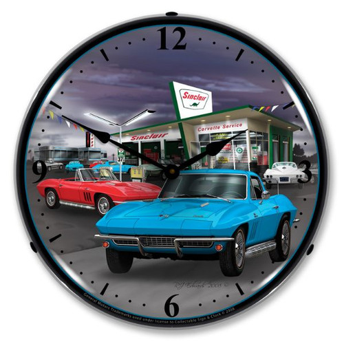 1966 Sinclair Vette Lighted Wall Clock