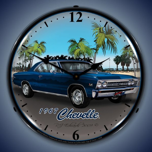 Retro  1967 Chevelle Lighted Wall Clock 14 x 14 Inches