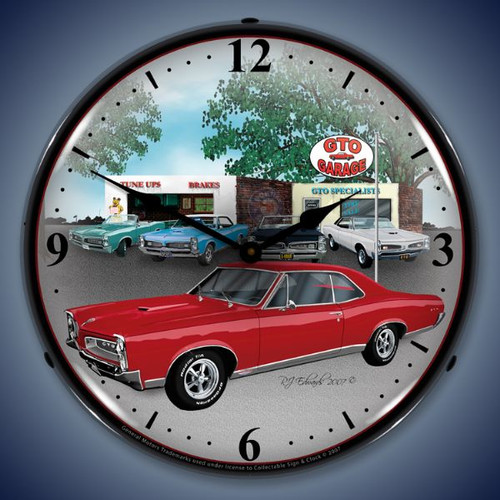 Retro  1967 GTO Lighted Wall Clock 14 x 14 Inches