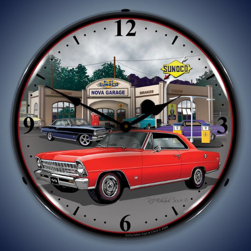 Retro  1967 Nova (red) Lighted Wall Clock 14 x 14 Inches