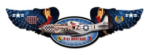 Mustang Winged Oval Metal Sign 10 x 35 Inches