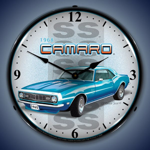 Retro  1968 SS Camaro Lighted Wall Clock 14 x 14 Inches