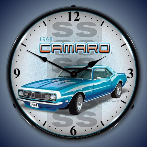 Retro  1968 SS Camaro Lighted Wall Clock 14 x 14 Inches