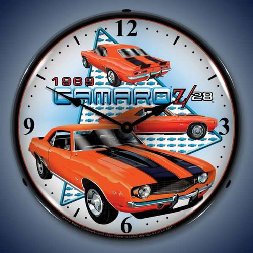 Retro  1969 Camaro Z28 Lighted Wall Clock  14 x 14 Inches