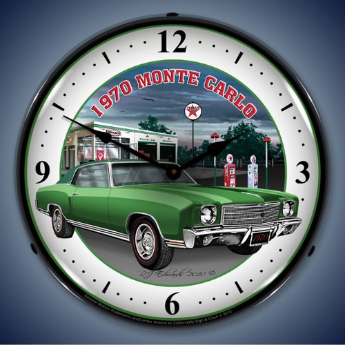 Retro  1970 Monte Carlo Green Lighted Wall Clock 14 x 14 Inches