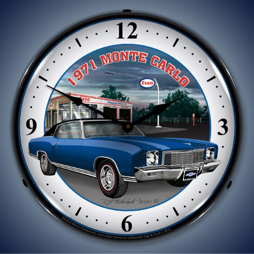 Retro  1971 Monte Carlo Lighted Wall Clock 14 x 14 Inches