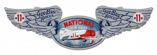 Vintage National Air Races Winged Oval Metal Sign 10 x 35 Inches