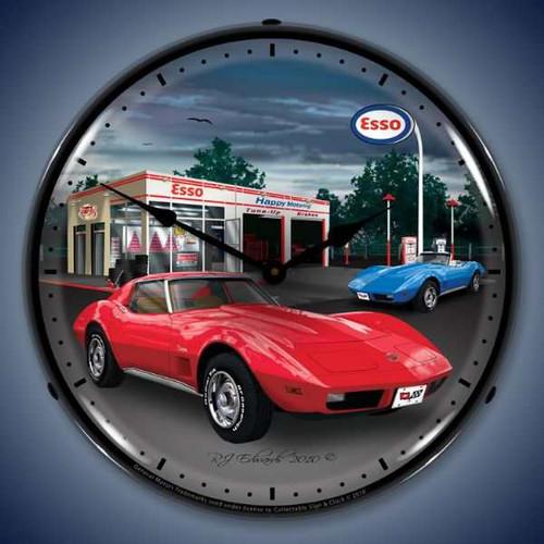 Retro  1974 Corvette Lighted Wall Clock  14 x 14 Inches