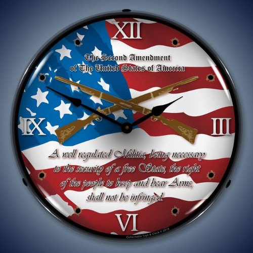 Retro  2nd Amendment Lighted Wall Clock 14 x 14 Inches