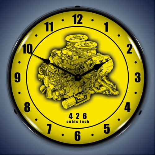 Retro  426 Engine Cutaway Lighted Wall Clock 14 x 14 Inches