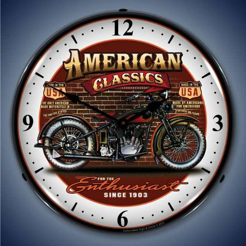Retro  American Classic Bike Lighted Wall Clock 14 x 14 Inches