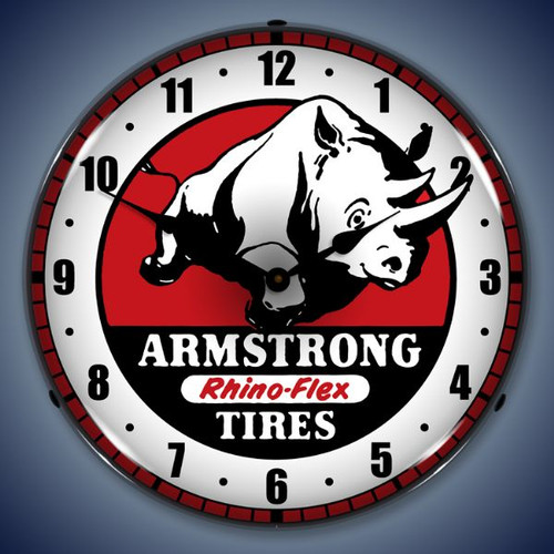 Retro  Armstrong Tire Lighted Wall Clock 14 x 14 Inches
