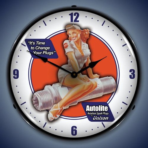 Retro  Autolite Avaition Lighted Wall Clock 14 x 14 Inches