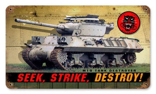 Vintage Seek Strike Destroy Metal Sign   8 x 14 Inches