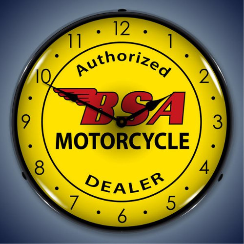 Vintage BSA Motorcycle Lighted Wall Clock  14 x 14 Inches