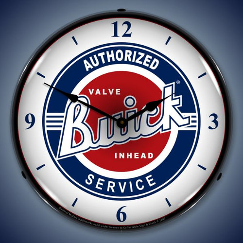 Retro  Buick Service w/numbers Lighted Wall Clock 14 x 14 Inches