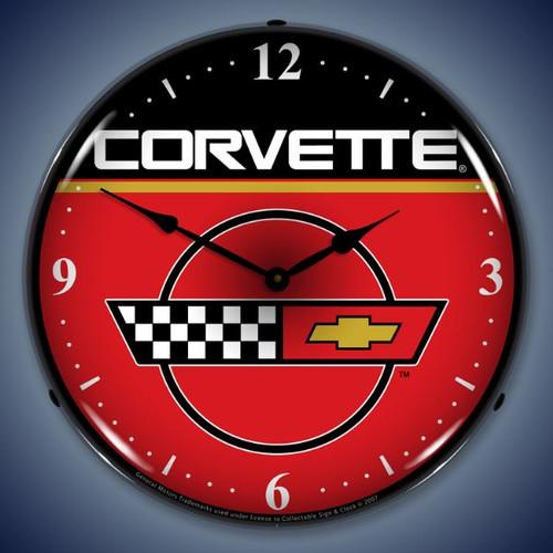 Retro  C4 Corvette Lighted Wall Clock 14 x 14 Inches