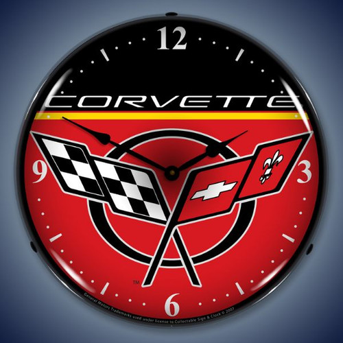 Retro  C5 Corvette Lighted Wall Clock 14 x 14 Inches