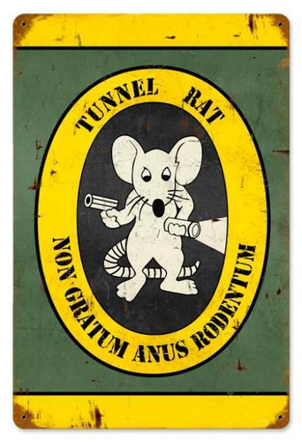 Retro Tunnel Rat Metal Sign  18 x 12 Inches