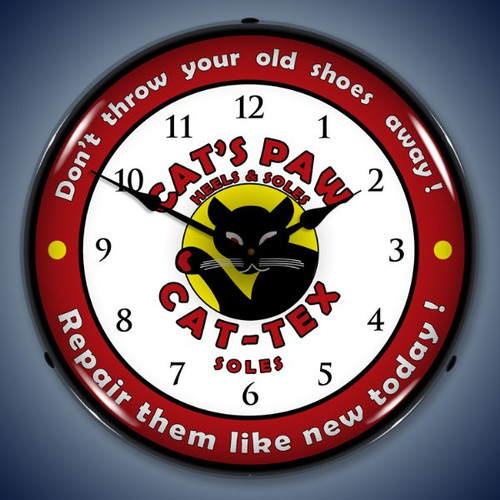 Retro  Cats Paw Lighted Wall Clock 14 x 14 Inches