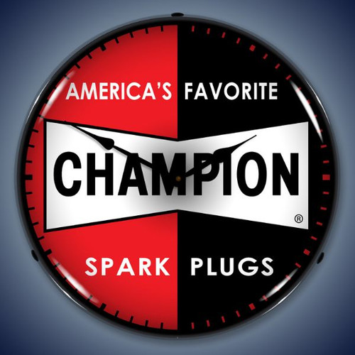 Retro  Champion Spark Plugs Lighted Wall Clock 14 x 14 Inches