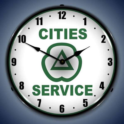 Retro  Cities Services Lighted Wall Clock 14 x 14 Inches