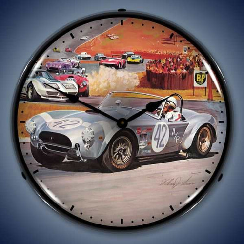 Retro  Cobra Race Lighted Wall Clock 14 x 14 Inches