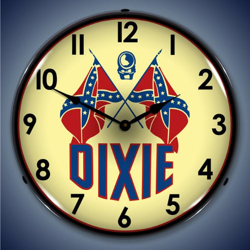 Retro  Dixie Gas Lighted Wall Clock 14 x 14 Inches