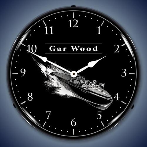 Retro  Gar Wood Lighted Wall Clock 14 x 14 Inches