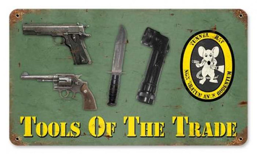 Vintage Tools of the trade Metal Sign   8 x 14 Inches