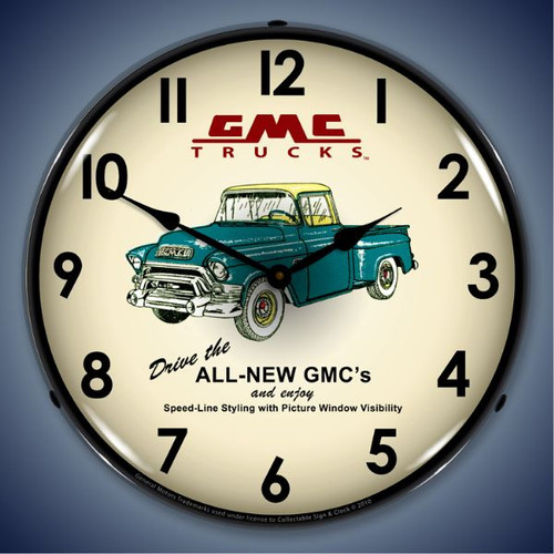 Retro  GMC Trucks 1956 Lighted Wall Clock 14 x 14 Inches