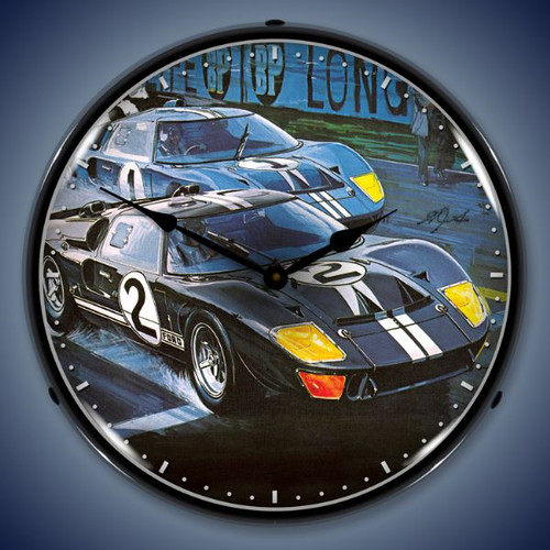 Retro  GT-40 Lighted Wall Clock 14 x 14 Inches