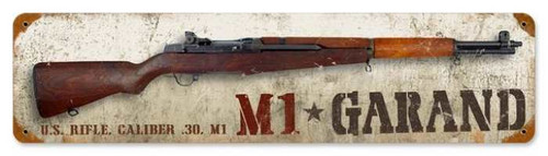 Vintage M1 Garand Metal Sign 5 x 20 Inches