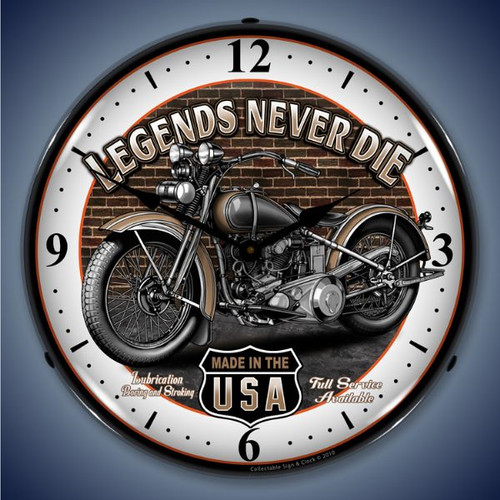 Retro  Legends Lighted Wall Clock 14 x 14 Inches