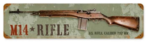 Vintage M14 Rifle Metal Sign 5 x 20 Inches
