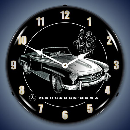 Retro  Mercedes Lighted Wall Clock 14 x 14 Inches