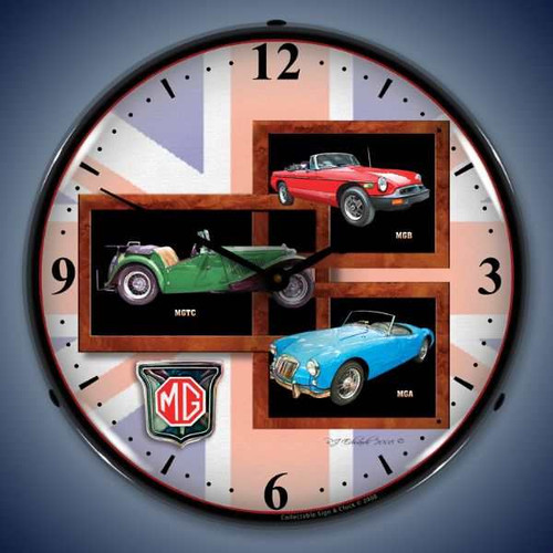 Retro  MG Lighted Wall Clock 14 x 14 Inches
