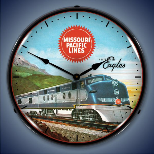 Retro  Missouri Pacific Sales Lighted Wall Clock 14 x 14 Inches