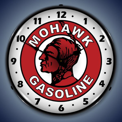 Retro  Mohawk Gasoline Lighted Wall Clock 14 x 14 Inches