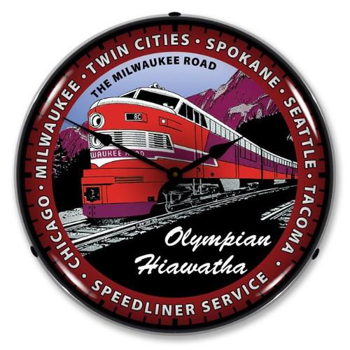 Olympian Hiawatha Train Lighted Wall Clock